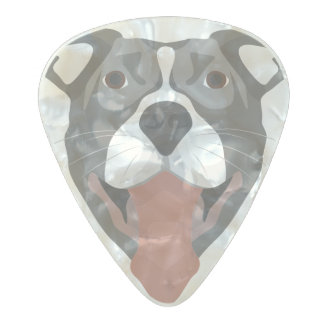 Illustration Dog Smiling Pitbull Pearl Celluloid Guitar Pick