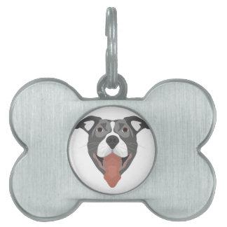 Illustration Dog Smiling Pitbull Pet Name Tag