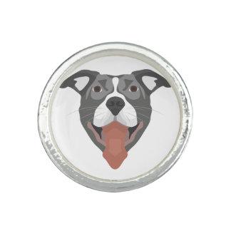 Illustration Dog Smiling Pitbull Photo Rings
