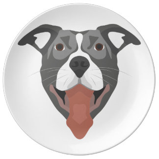 Illustration Dog Smiling Pitbull Plate