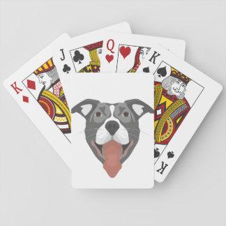 Illustration Dog Smiling Pitbull Playing Cards