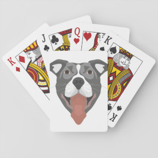 Illustration Dog Smiling Pitbull Playing Cards