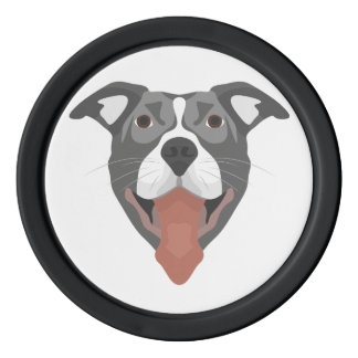 Illustration Dog Smiling Pitbull Poker Chips