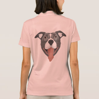 Illustration Dog Smiling Pitbull Polo Shirt