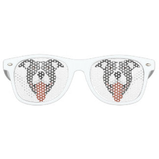 Illustration Dog Smiling Pitbull Retro Sunglasses