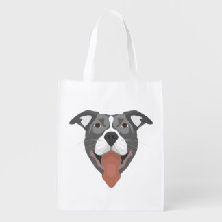 Illustration Dog Smiling Pitbull Reusable Grocery Bag