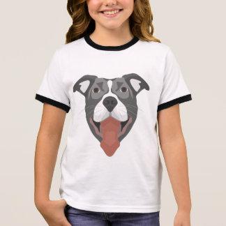 Illustration Dog Smiling Pitbull Ringer T-Shirt