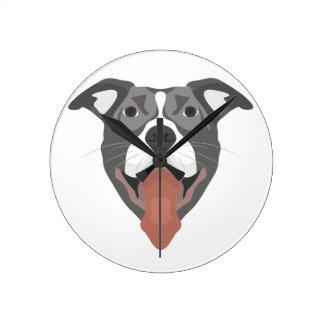 Illustration Dog Smiling Pitbull Round Clock