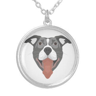 Illustration Dog Smiling Pitbull Silver Plated Necklace