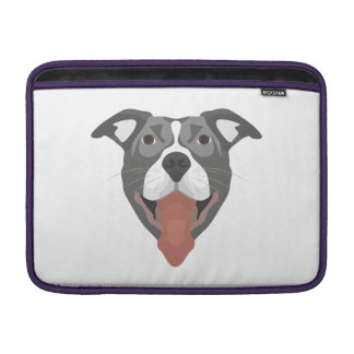 Illustration Dog Smiling Pitbull Sleeve For MacBook Air