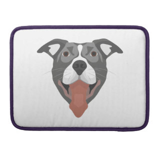Illustration Dog Smiling Pitbull Sleeve For MacBooks