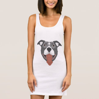 Illustration Dog Smiling Pitbull Sleeveless Dress