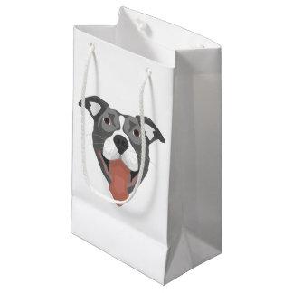 Illustration Dog Smiling Pitbull Small Gift Bag