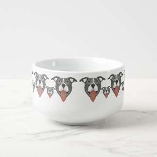 Illustration Dog Smiling Pitbull Soup Mug