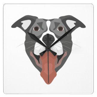 Illustration Dog Smiling Pitbull Square Wall Clock