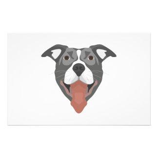 Illustration Dog Smiling Pitbull Stationery