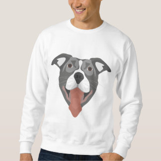 Illustration Dog Smiling Pitbull Sweatshirt