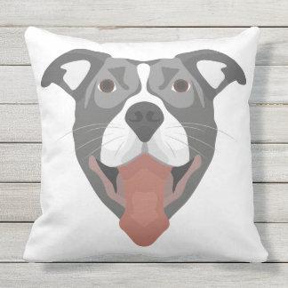 Illustration Dog Smiling Pitbull Throw Pillow