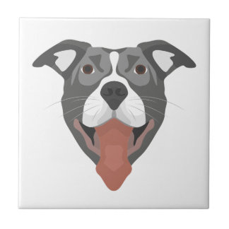 Illustration Dog Smiling Pitbull Tile