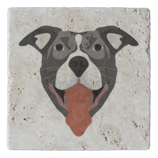 Illustration Dog Smiling Pitbull Trivet