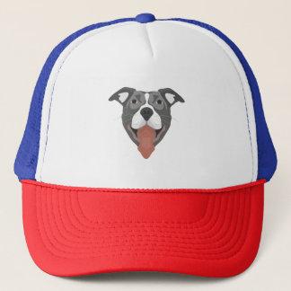 Illustration Dog Smiling Pitbull Trucker Hat