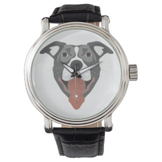 Illustration Dog Smiling Pitbull Watch