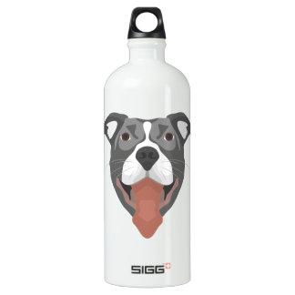 Illustration Dog Smiling Pitbull Water Bottle