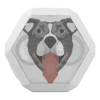 Illustration Dog Smiling Pitbull White Bluetooth Speaker