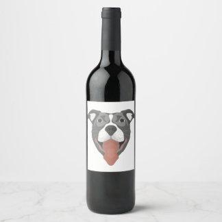 Illustration Dog Smiling Pitbull Wine Label