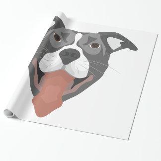 Illustration Dog Smiling Pitbull Wrapping Paper