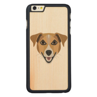 Illustration Dog Smiling Terrier Carved Maple iPhone 6 Plus Case