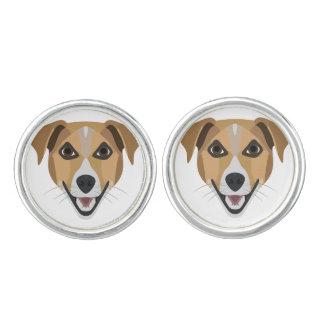 Illustration Dog Smiling Terrier Cuff Links