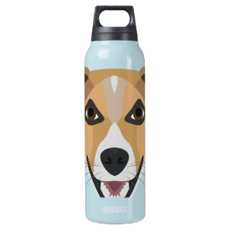Illustration Dog Smiling Terrier Insulated Water Bottle