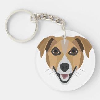 Illustration Dog Smiling Terrier Keychain