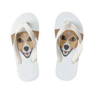 Illustration Dog Smiling Terrier Kid's Flip Flops