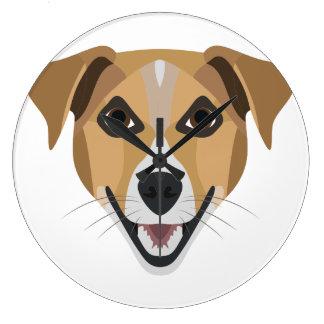 Illustration Dog Smiling Terrier Large Clock