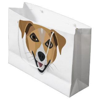 Illustration Dog Smiling Terrier Large Gift Bag
