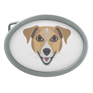 Illustration Dog Smiling Terrier Oval Belt Buckles