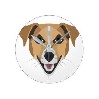 Illustration Dog Smiling Terrier Round Clock