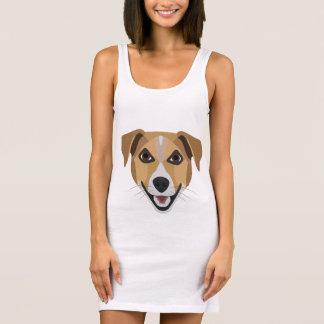 Illustration Dog Smiling Terrier Sleeveless Dress