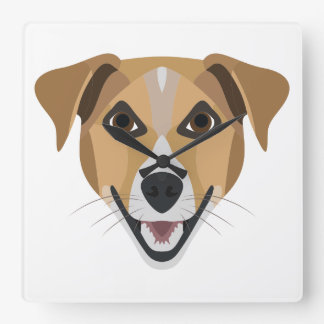 Illustration Dog Smiling Terrier Square Wall Clock