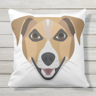 Illustration Dog Smiling Terrier Throw Pillow