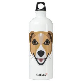 Illustration Dog Smiling Terrier Water Bottle
