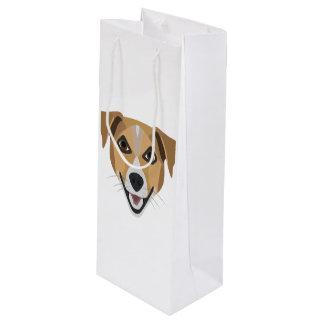 Illustration Dog Smiling Terrier Wine Gift Bag
