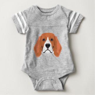 Illustration dogs face Beagle Baby Bodysuit