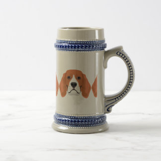 Illustration dogs face Beagle Beer Stein
