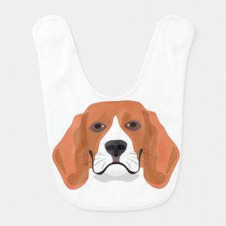 Illustration dogs face Beagle Bib