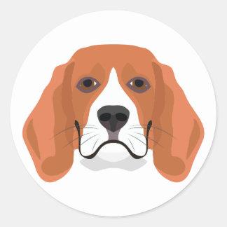 Illustration dogs face Beagle Classic Round Sticker
