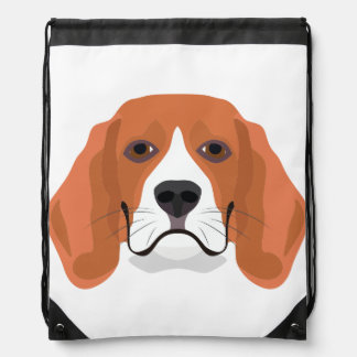 Illustration dogs face Beagle Drawstring Bag