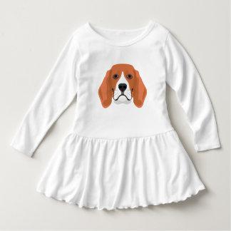 Illustration dogs face Beagle Dress